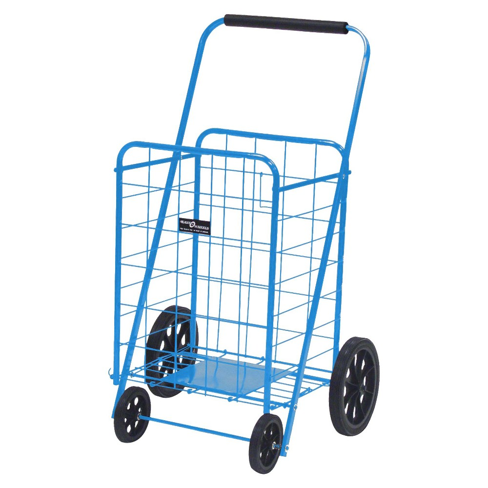 Narita Super Shopping Cart - Blue The exceptionally high-quality Easy Wheels Super Shopping Cart is ideal for shopping, laundry, and dozens of other purposes. This Blue shopping cart holds up to 250 pounds and is coated with a highly durable epoxy finish. It is constructed from heavy-gauge steel that makes this rolling shopping cart last for years. A plate is present at the bottom of this shopping cart for ultimate support. You can move this cart smoothly with the help of the hardened plastic wheels. This foldable shopping cart can be conveniently stored in a corner or closet, when not in use. Easy Wheels Super Shopping Cart: Made of heavy gauge steel for durability Durable frame with plate at bottom of basket for added support Hardened plastic wheels Folds flat for easy storage 250 lb weight capacity Maximum Weight Capacity: 250 Material: Steel Handle Material: Rubber Dimensions: 41.750 H x 24.000 W x 21.000 D Handle Length: 24.000 Weight: 16.000 Warranty Description: No applicable warranty Tcin: 14125827 Upc: 728363002140 Store Item Number (Dpci): 094-05-0772 Origin: Imported