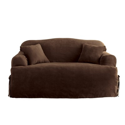 Soft Suede T-Sofa Slipcover Chocolate - Sure Fit