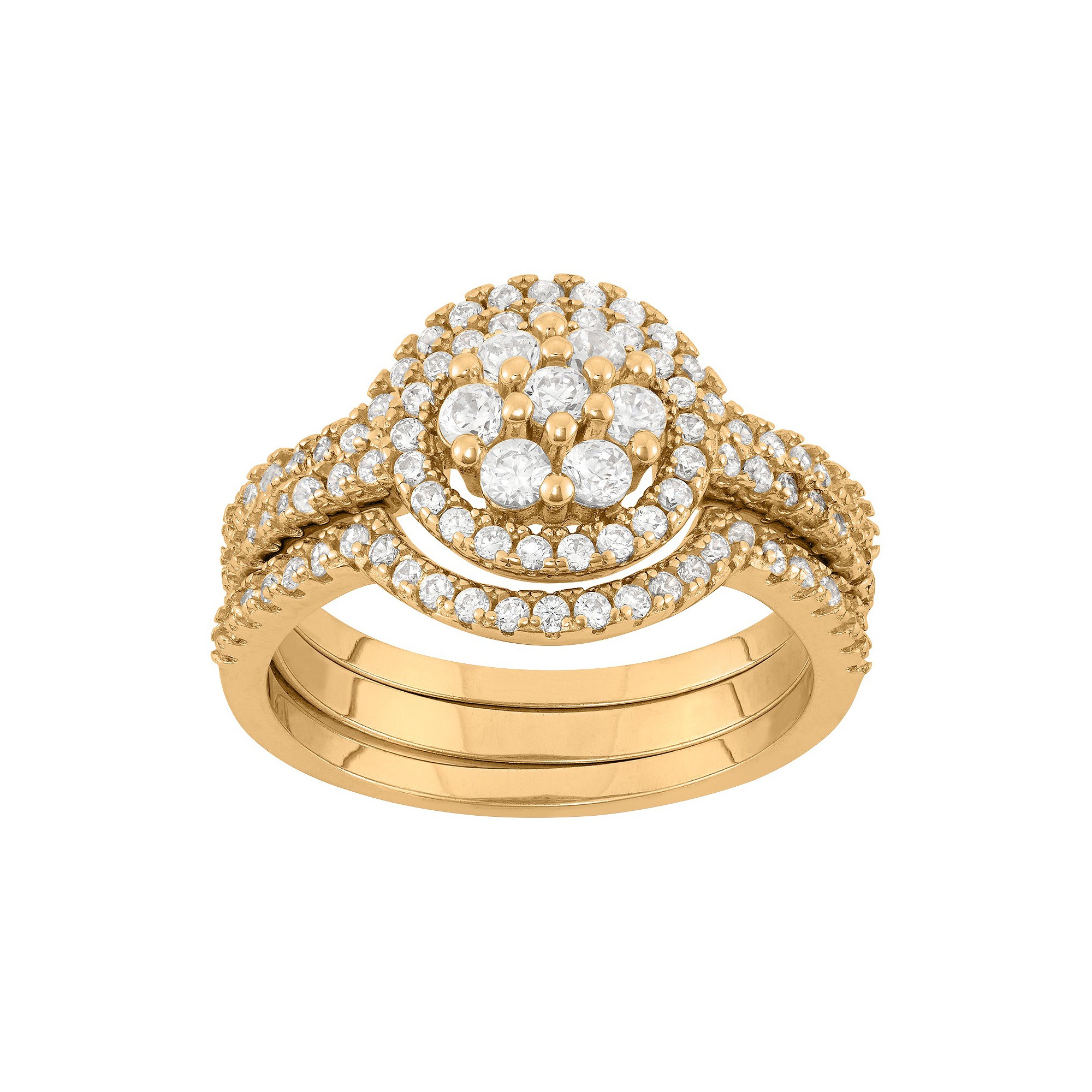 0.9 CT. T.W. 3-Piece Multi Round Cubic Zirconia Ring Set In 14K Gold Over Silver - (7), Women's, Yellow