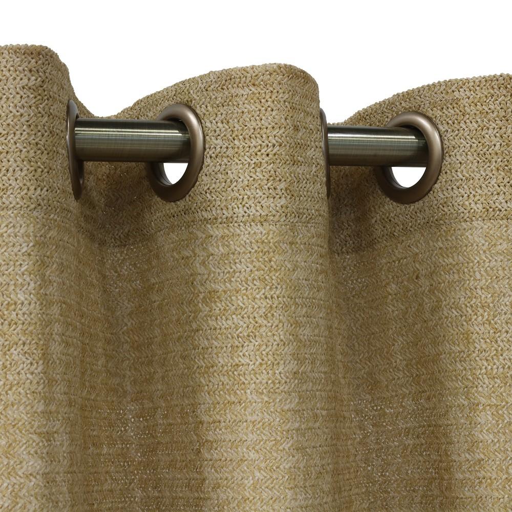 """Image of """"50""""""""x108"""""""" Raffia Grommet Top Blackout Curtain Panel Beige - Outdoor Décor, Size: 50x108, White"""""""