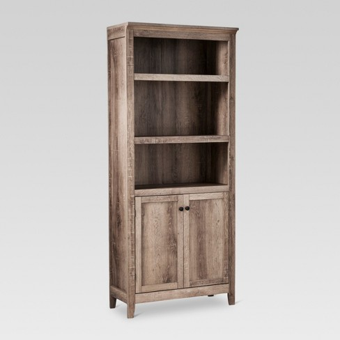 72 5 Shelf Bookcase W Storage Rustic