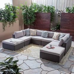 Santa Rosa 8pc Wicker Sectional Sofa Set - Gray/Silver - Christopher Knight Home