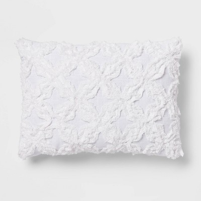 Oblong Chenille Pattern Decorative Throw Pillow White - Threshold™