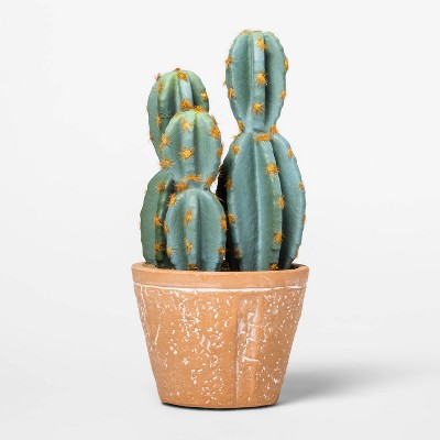 "8.4"" x 3.9"" Artificial Cactus Arrangement in Terra Cotta Pot Green/Red - Threshold™"