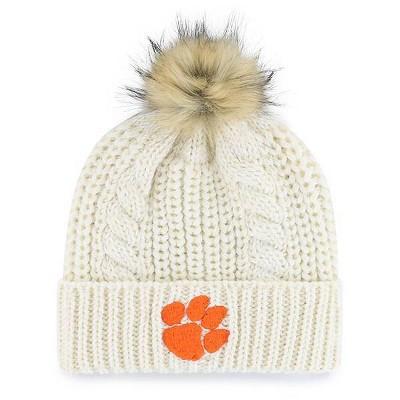 NCAA Clemson Tigers Women's Cream Knit Cuffed Beanie with Faux Fur Pom