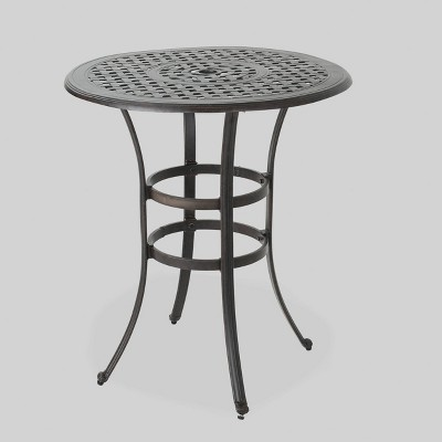 Alfresco Round Cast Aluminum Patio Bar Table - Bronze - Christopher Knight Home