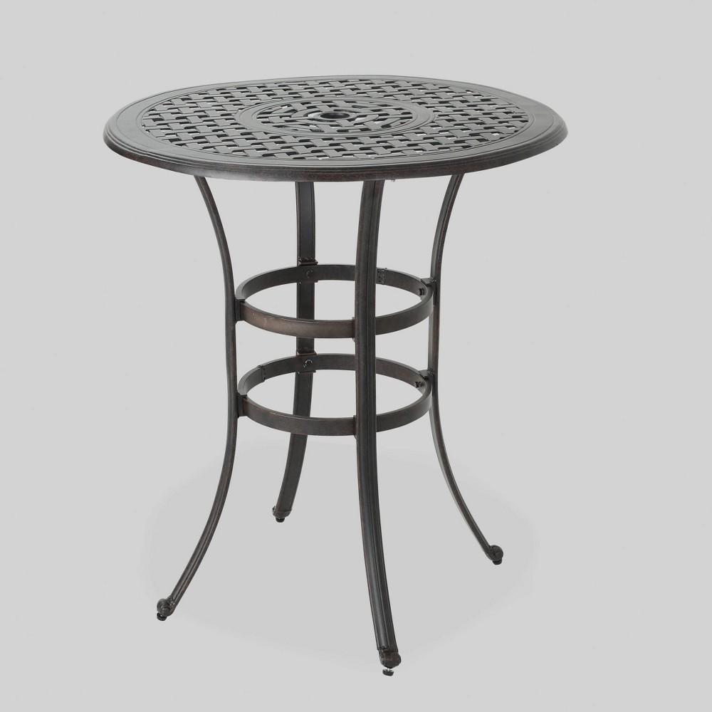 Alfresco Round Cast Aluminum Patio Bar Table - Bronze - Christopher Knight Home