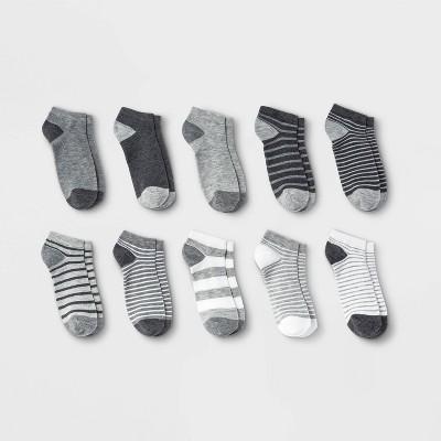 Boys' 10pk Lightweight No Show Socks - Cat & Jack™ Black/White