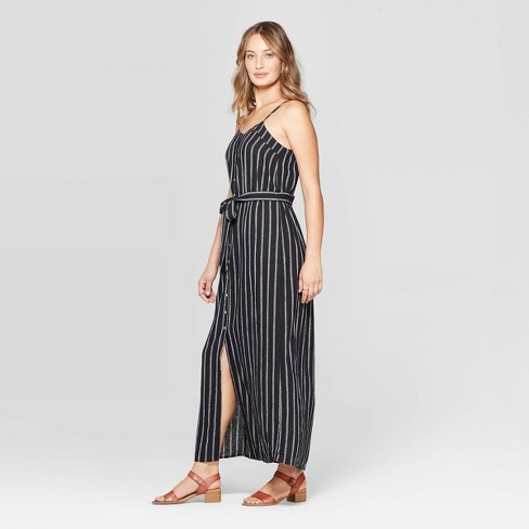 cf6164cd3d7 Women s Sleeveless V-Neck Button Front Striped Maxi Dress - Universal Thread™  Black White. Shop all Universal Thread