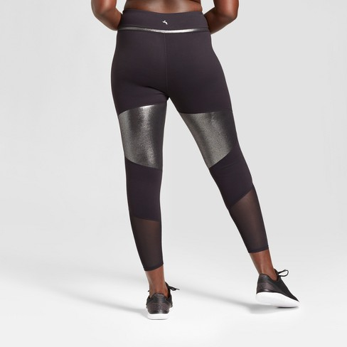 7df568b25 Women s Plus Size Mesh Shine Pieced Mid-Rise Leggings - JoyLab™ Black    Target