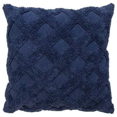 "20""x20"" Single Tufted Diagonal Throw Pillow Navy - Lush Décor"