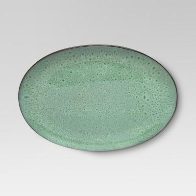 Belmont Round Serving Platter 15x10.7in Stoneware Green - Threshold™