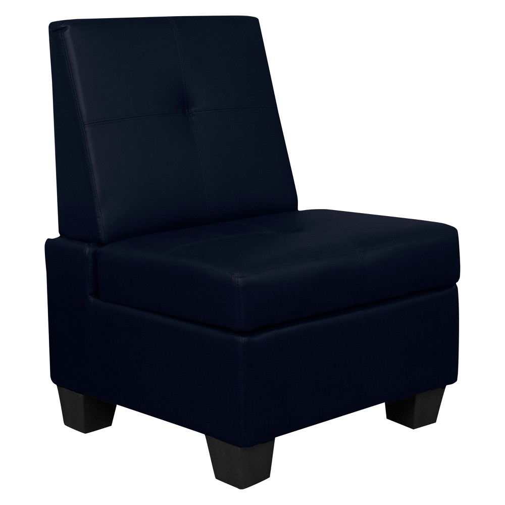 Image of Valet Tufted Padded Hinged Storage Chair - Leather Look - Epic Furnishings, Classic Navy