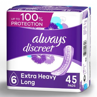 Always Discreet Incontinence and Postpartum Incontinence Pads for Women - Extra Heavy Absorbency - Long Length