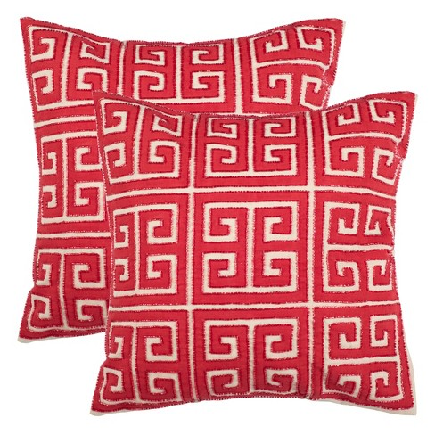 Chy Square Throw Pillow Red Safavieh