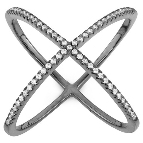 "0.32 CT. T.W. Trend ""X"" Cubic Zirconia Ring In Sterling Silver - image 1 of 2"