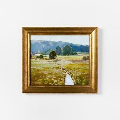 """16"""" x 14"""" Summer Pasture Framed Wall Art Brass - Threshold™ designed with Studio McGee"""