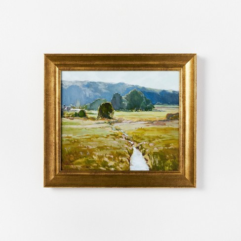"""16"""" x 14"""" Summer Pasture Framed Wall Art Brass - Threshold™ designed with Studio McGee - image 1 of 3"""