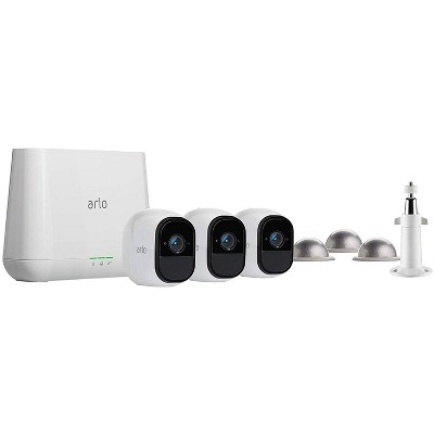 Arlo Pro - Wireless Home Security Camera Starter System   3 Camera Kit with Wall and Outdoor Mount