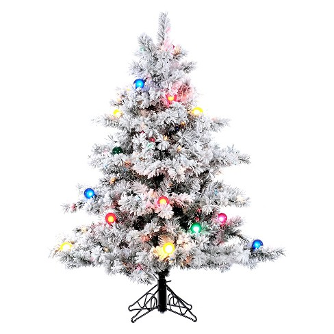 4.5ft Pre-Lit LED Artificial Christmas Tree Flocked Alaskan - Multicolored Lights - image 1 of 1