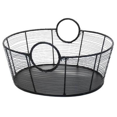 "25.5"" Large Hand-Woven Steel Harvest Basket Black Powder Coat Finish - ACHLA Designs"