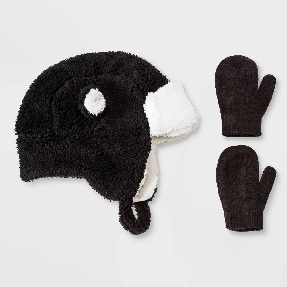 Image of Toddler Boys' Sherpa Ears Trapper & Magic Mittens Set - Cat & Jack Black 2T-5T, Toddler Boy's, Size: Small