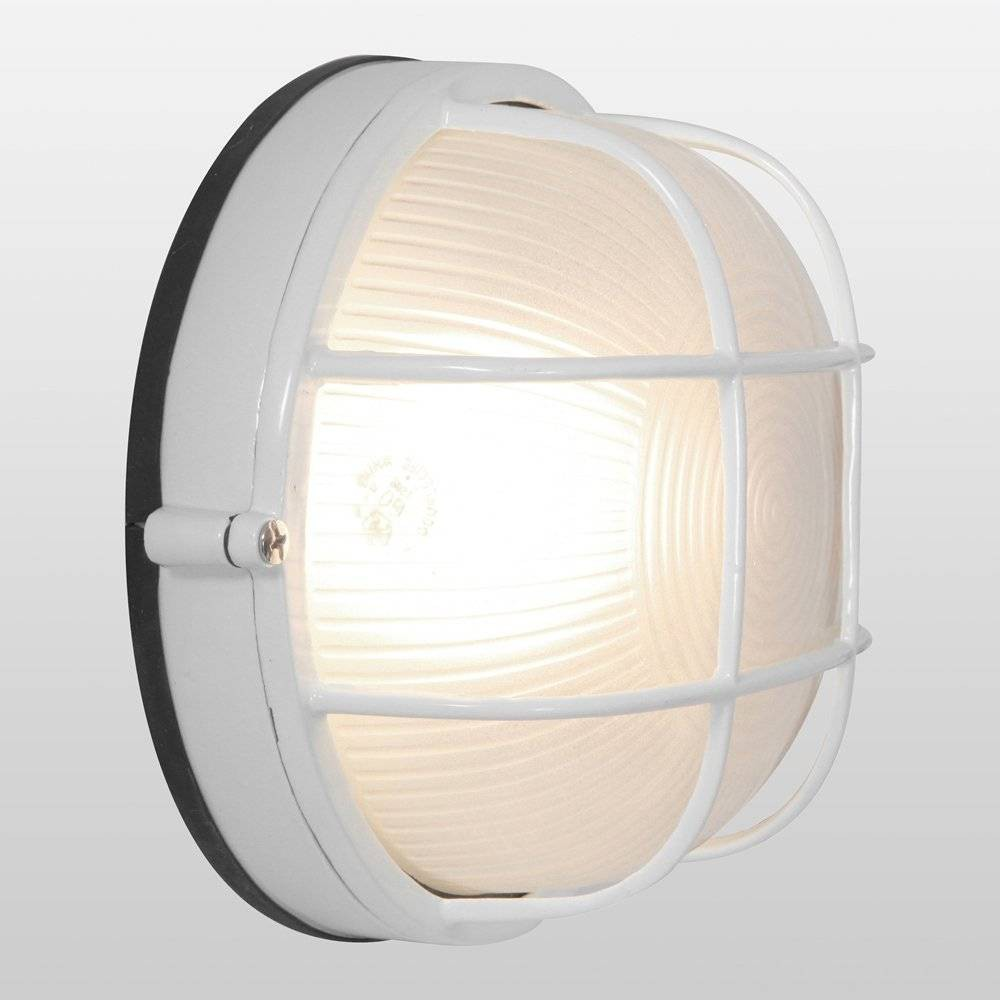 "Image of ""10"""" Nauticus Round Outdoor Wall Light with Frosted Glass Shade White - Access Lighting"""