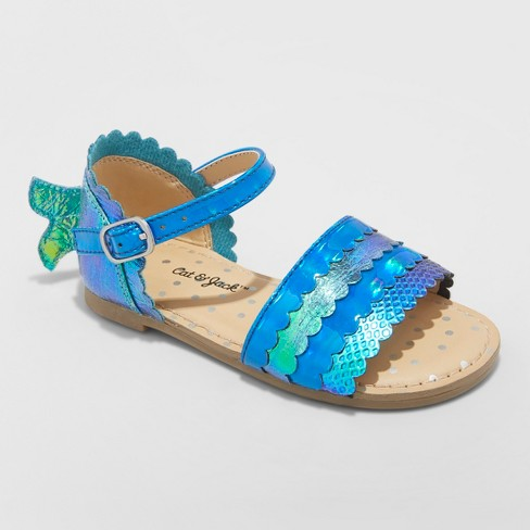 b818adb11b4ee7 Toddler Girls  Amina Metallic Iridescent Sandals - Cat   Jack™ Blue ...