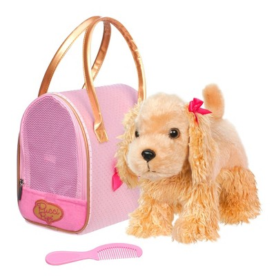 Pucci Pups – Cocker Spaniel Plush Puppy & Golden Dot Glam Bag