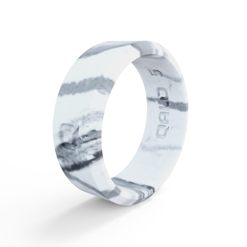 Qalo Standard Women's Marble Modern Silicone Ring Size 06 - White, Size: 6
