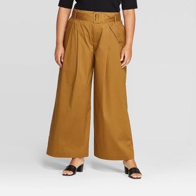 Women's Plus Size Mid Rise Wide Leg Pants   Who What Wear Brown by Rise Wide Leg Pants