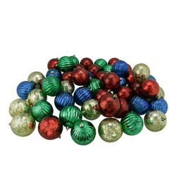 "Northlight 50ct Shiny Shatterproof Mercury Ball Christmas Ornament Set 3.25"" - Red/Blue"