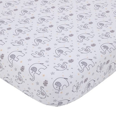 Little Love By NoJo Dream Big Little Elephant Fitted Crib Sheet - Gray and White