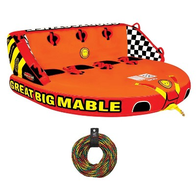 SPORTSSTUFF 53-2218 Great Big Mable Quadruple Rider Towable Tube w/ 60' Tow Rope