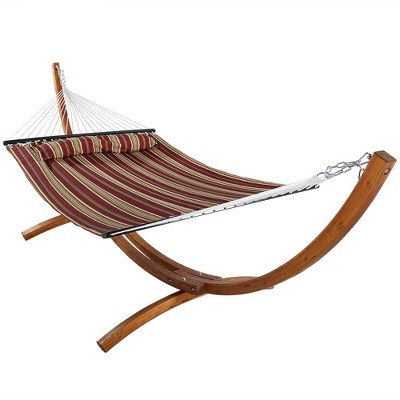 Sunnydaze Quilted Double Fabric 2-Person Hammock with Curved Arc Wood Stand - 400 lb Weight Capacity/12' Stand - Red Stripe