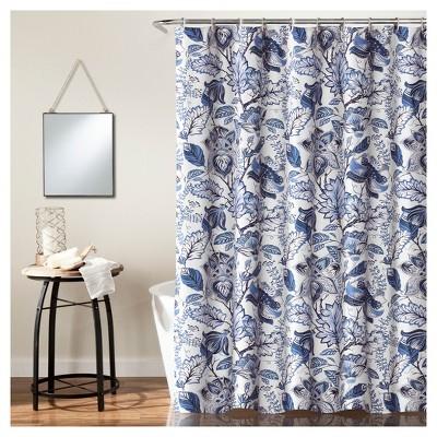 Cynthia Jacobean Shower Curtain Blue - Lush Decor