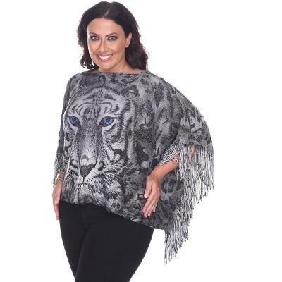 Women's Plus Size Tiger Print Poncho - White Mark
