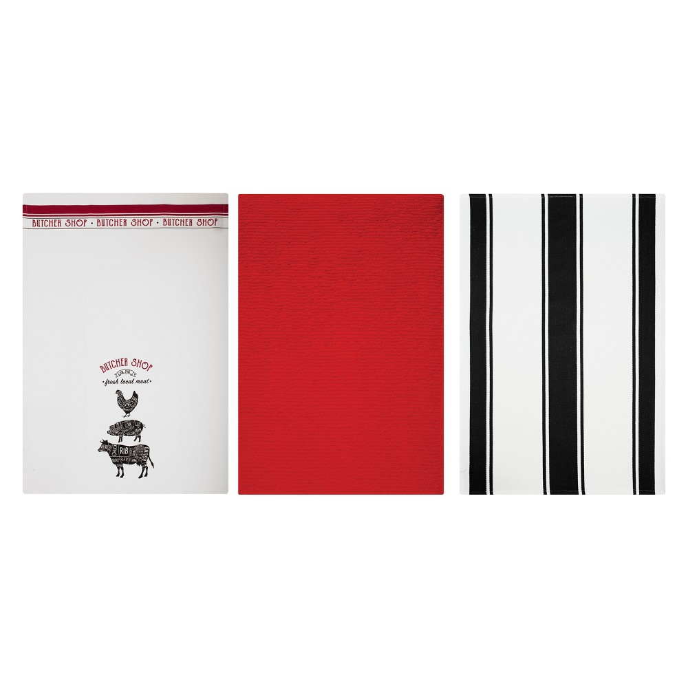 Image of 3pk Kitchen Towel Print/Stripe/Solid Red/Gray/Black - Mu Kitchen