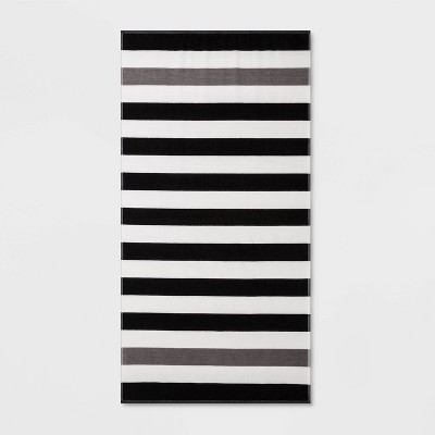 Sailing Stripe Beach Towel XL Black - Sun Squad™
