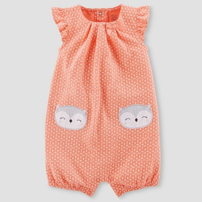 Baby Girls' Owl Romper - Just One You® made by carter's Coral 18M
