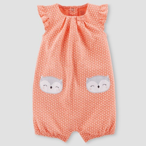 Baby Girls' Owl Romper - Just One You® made by carter's Coral - image 1 of 1
