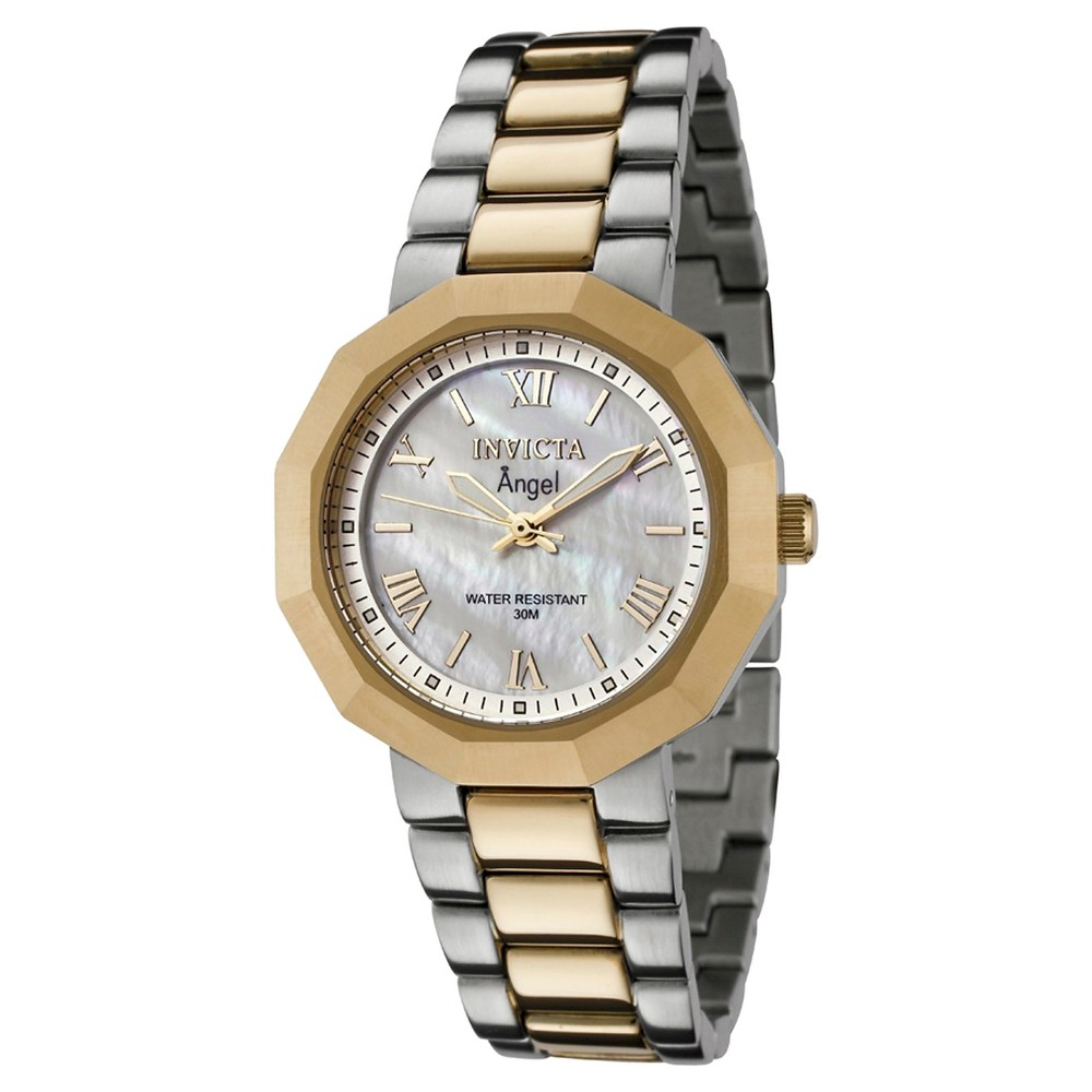 Women's Invicta 0544 Angel Quartz 3 Hand White Dial Link Watch - Two Tone, Gold