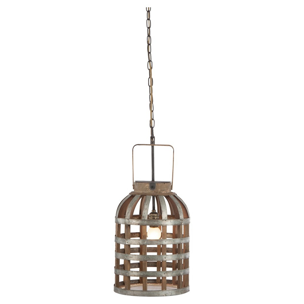 Image of A&b Home Small Wood Iron Pendant Lamp - Gray