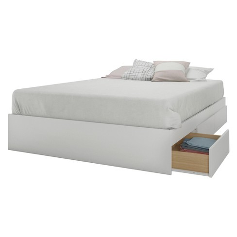 Aura 3 Drawer Storage Bed With, Queen Platform Bed With Storage And Headboard White