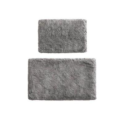 2pk Ritzy Cotton Solid Tufted Bath Rug Set Gray