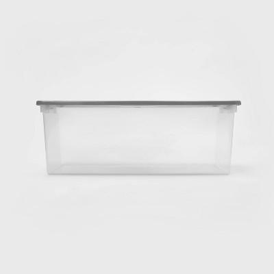 110qt Latching Clear Storage Box Gray - Room Essentials™