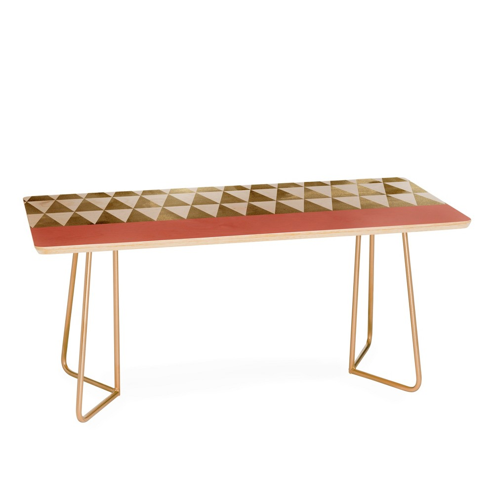 Georgiana Paraschiv Triangles Coffee Table with Gold Aston Legs - Deny Designs, Gold Legs