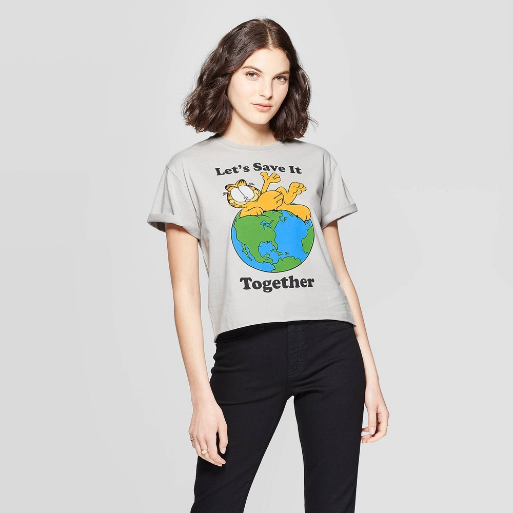 Image of petiteWomen's Garfield Let's Save it Together Short Sleeve Cropped Graphic T-Shirt (Juniors') - Gray L, Size: Large