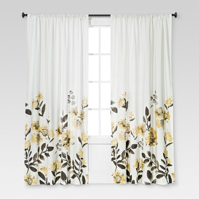 "84""x54"" Climbing Floral Window Curtain Panel Yellow - Threshold™"
