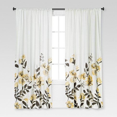 Climbing Floral Window Curtain Panel - Threshold™ - image 1 of 2
